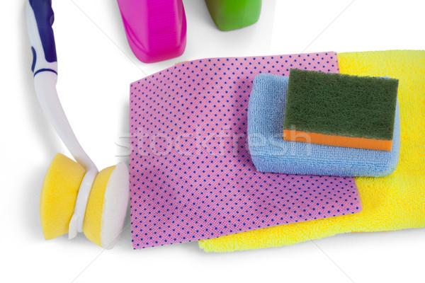 Mosószer törölköző szalvéta ruha takarítás ecset Stock fotó © wavebreak_media