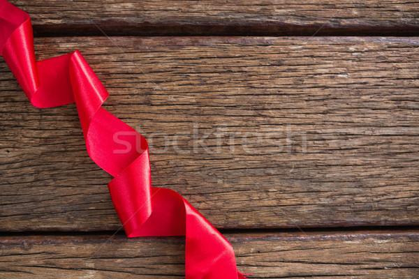 Vörös szalag fa asztal közelkép háttér asztal piros Stock fotó © wavebreak_media