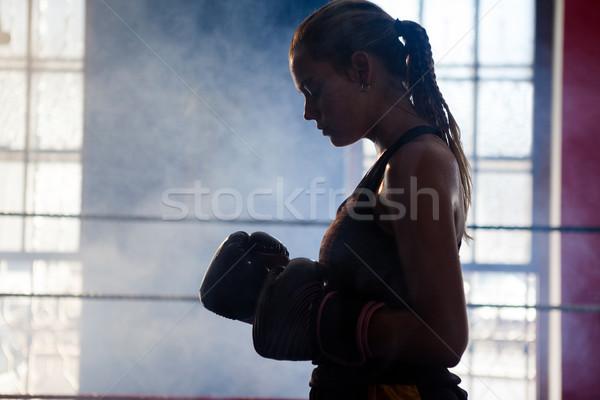 определенный женщину Постоянный бокса кольца фитнес Сток-фото © wavebreak_media
