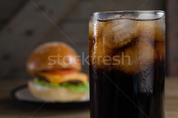 クローズアップ 冷たい飲み物 木製のテーブル 氷 表 サンドイッチ ストックフォト © wavebreak_media