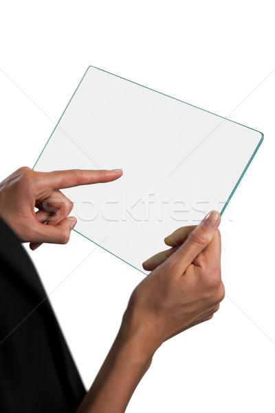 Cropped hand on businesswoman touching lass interface Stock photo © wavebreak_media
