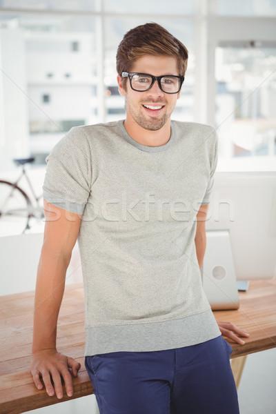 Boldog hipszter visel szem szemüveg dől Stock fotó © wavebreak_media