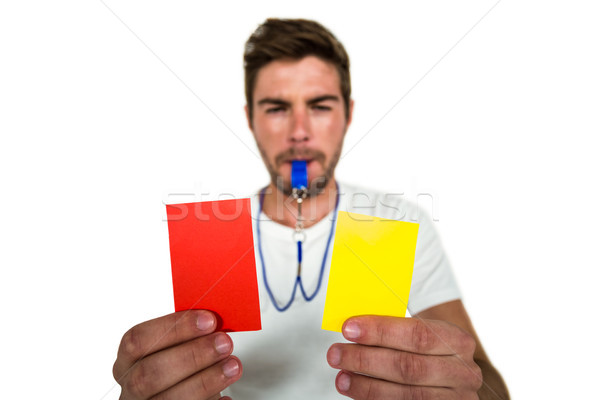 Yakışıklı kırmızı sarı kartları Stok fotoğraf © wavebreak_media