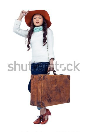 Gülen Asya kadın bagaj şapka Stok fotoğraf © wavebreak_media