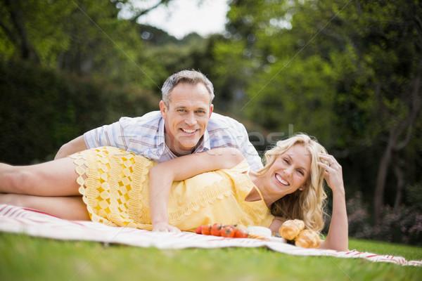 Stockfoto: Gelukkig · paar · picknick · buiten · vrouw · boom