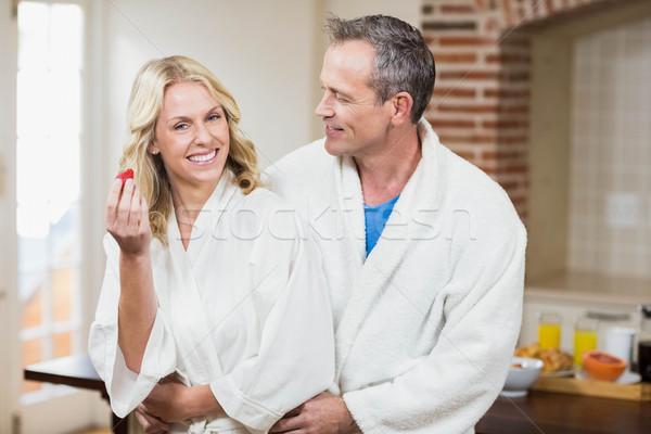 Aranyos pár ölelkezés nő boldog otthon Stock fotó © wavebreak_media