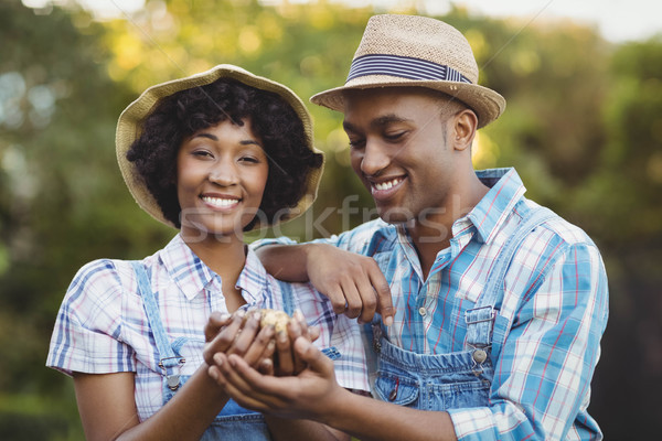 Souriant couple pommes de terre jardin femme Photo stock © wavebreak_media