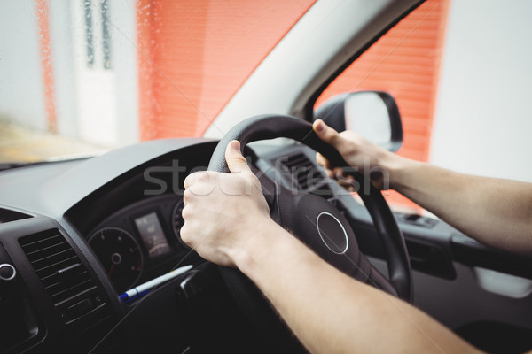 Close-up of hands holding steering wheel Stock photo © wavebreak_media