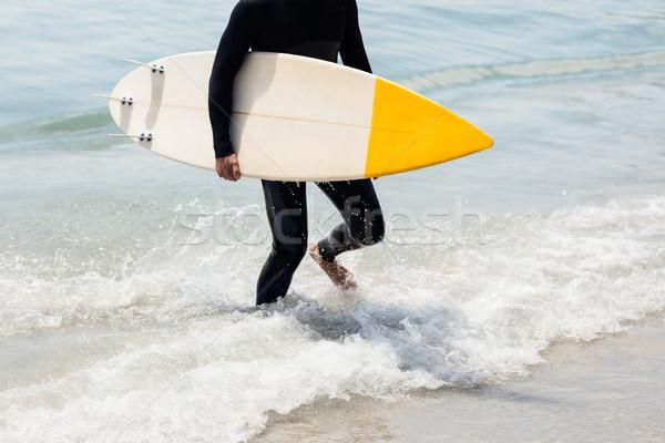 Szörfös sétál tengerpart szörfdeszka napos idő férfi Stock fotó © wavebreak_media