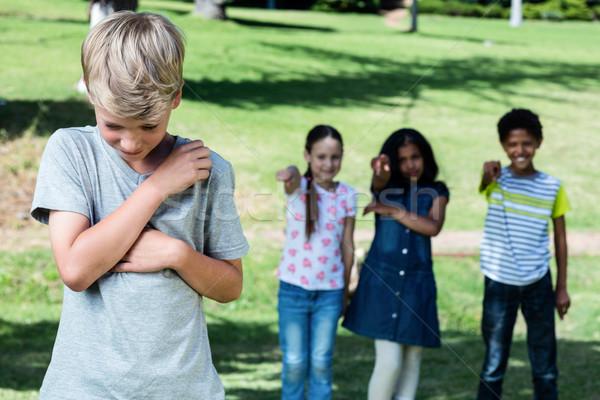 Vrienden jongen park meisje ogen triest Stockfoto © wavebreak_media