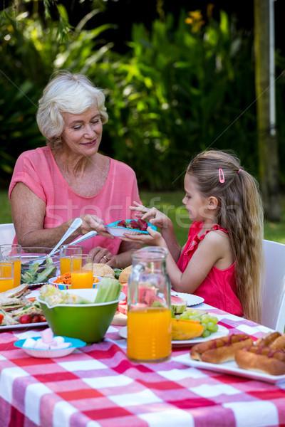 Babcia żywności wnuczka trawnik człowiek Zdjęcia stock © wavebreak_media