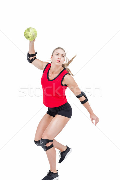 Female athlete with elbow pad throwing handball Stock photo © wavebreak_media