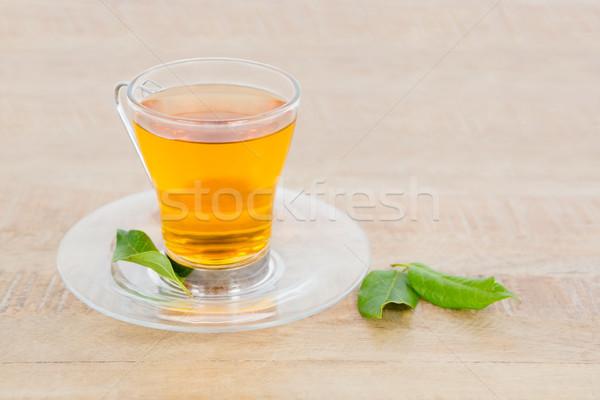 Herbata ziołowa serwowane tabeli liści szkła Zdjęcia stock © wavebreak_media