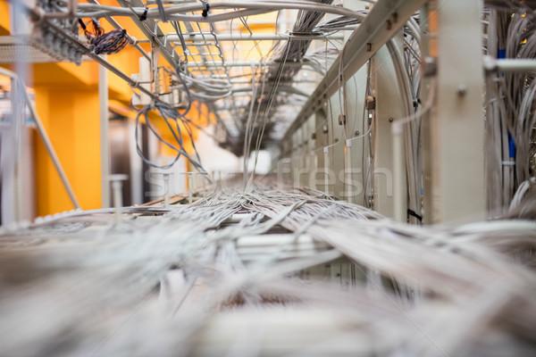 Közelkép kábel drótok szerver öltözőszekrény szoba Stock fotó © wavebreak_media
