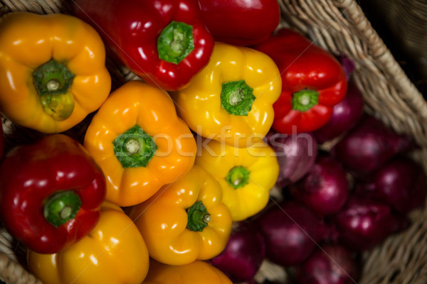 Close-up of wicker basket full of bell pepper Stock photo © wavebreak_media