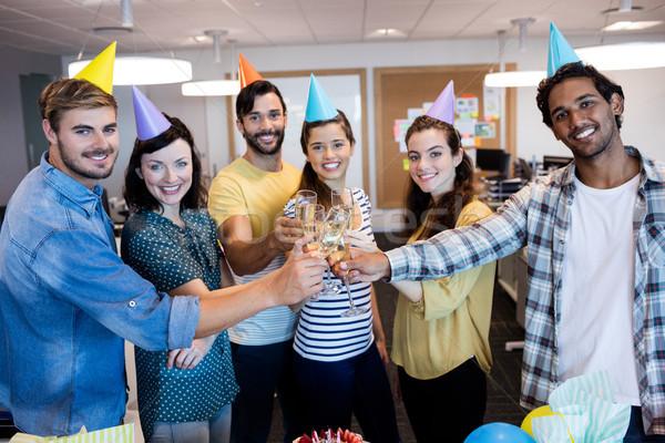 Kreatív üzleti csapat pirítós születésnap iroda üzlet Stock fotó © wavebreak_media