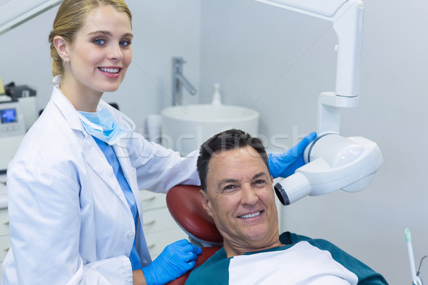 Portrait of dentist examining a male patient with dental tool Stock photo © wavebreak_media