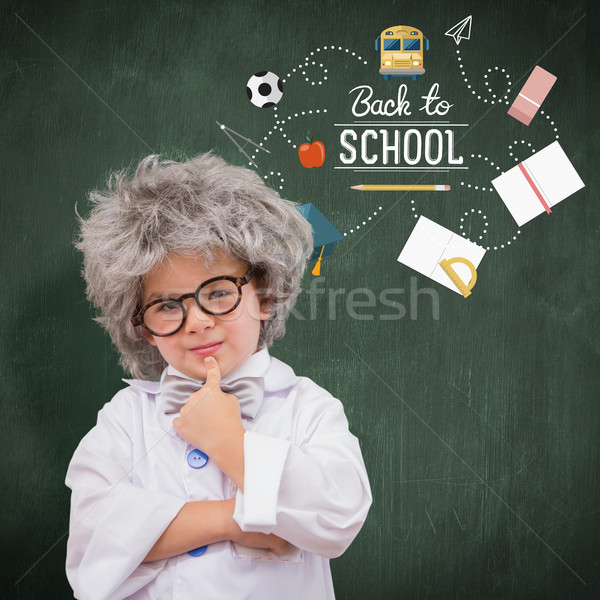 Composite image of cute pupil in lab coat  Stock photo © wavebreak_media