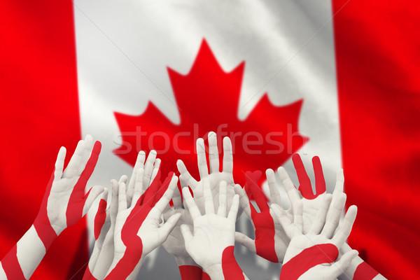 összetett kép emberek kezek levegő kanadai zászló Stock fotó © wavebreak_media