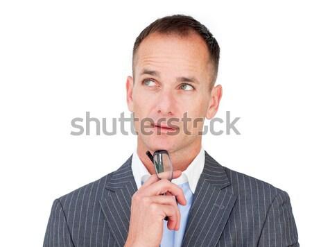 Pensativo maduro empresário óculos olhando Foto stock © wavebreak_media