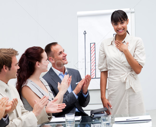 Happy Afro-American businesswoman after giving a presentation Stock photo © wavebreak_media