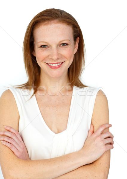 Imprenditrice piegato braccia sorridere fotocamera Foto d'archivio © wavebreak_media