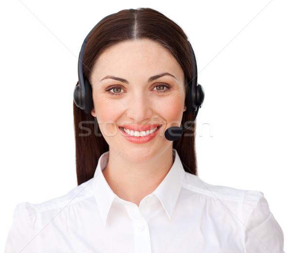 Jovem atendimento ao cliente agente fone branco mulher Foto stock © wavebreak_media