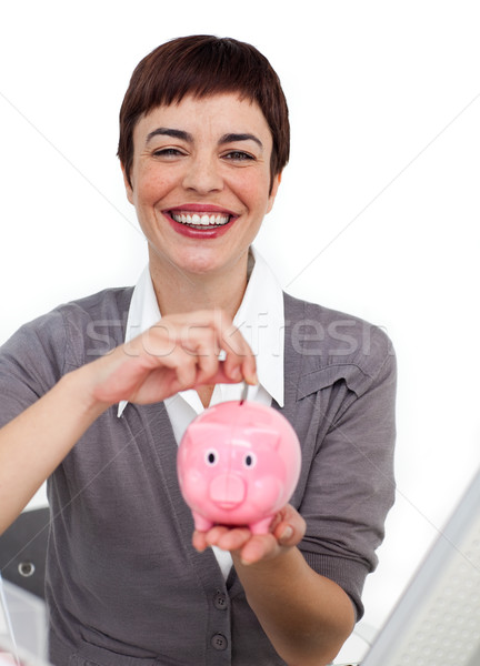 Atraente empresária dinheiro isolado Foto stock © wavebreak_media