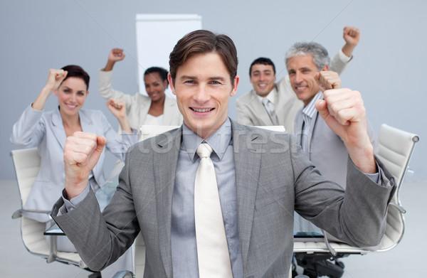 Heureux équipe commerciale célébrer bureau sourire Photo stock © wavebreak_media