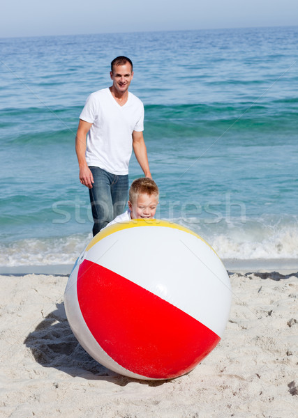 Animated father and his son playing with a ball  Stock photo © wavebreak_media