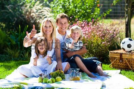 Сток-фото: молодые - семьи - пикника - парка - улыбаясь - женщину.