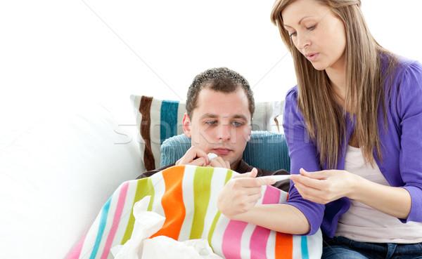 Kadın kontrol sıcaklık hasta erkek arkadaş Stok fotoğraf © wavebreak_media