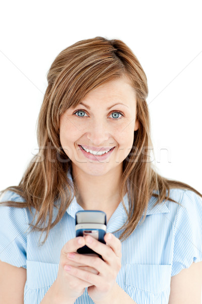 Pozitív üzletasszony sms chat mosolyog kamera fehér Stock fotó © wavebreak_media