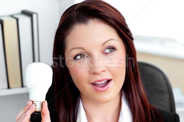 Foto stock: Surpreendido · empresária · sessão · escritório