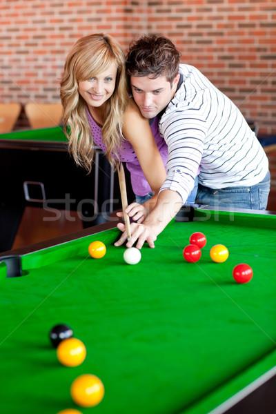 Stockfoto: Hartelijk · vriendje · leren · vriendin · spelen · zwembad