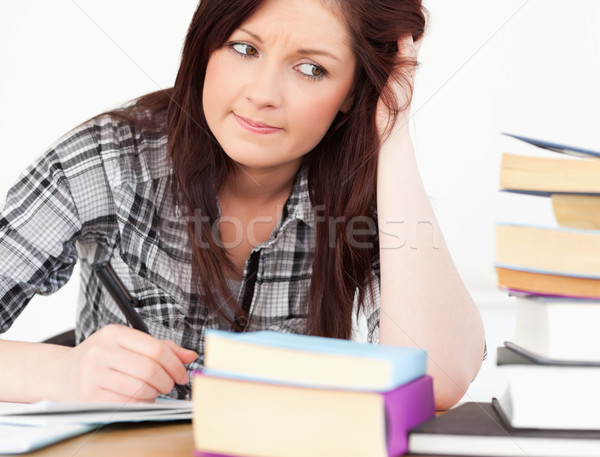 Stock fotó: Vonzó · lány · tanul · vizsgálat · asztal · boldog