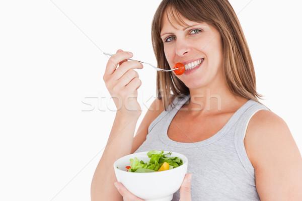 красивый беременная женщина еды чаши Сток-фото © wavebreak_media