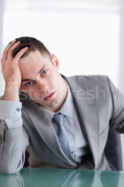 Közelkép fiatal üzletember ül mögött asztal Stock fotó © wavebreak_media