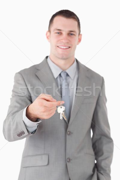 Stock foto: Porträt · jungen · Geschäftsmann · Set · Schlüssel