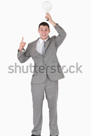 Portret zakenman lamp boven hoofd Stockfoto © wavebreak_media