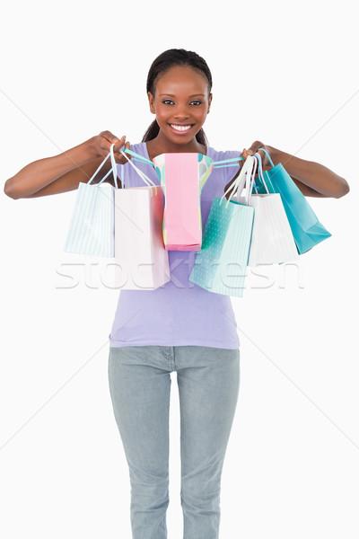 Sorrindo compras branco moda fundo Foto stock © wavebreak_media