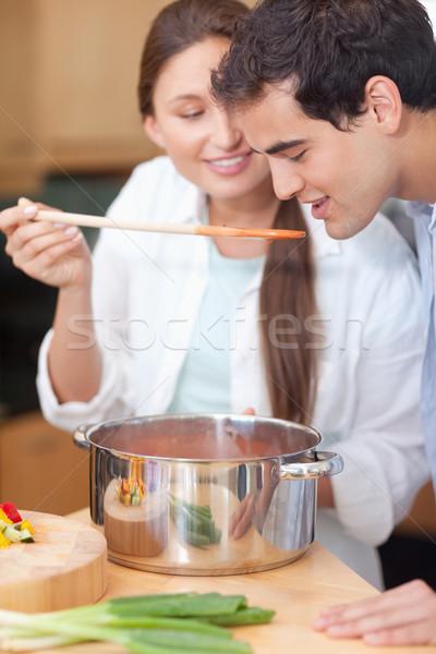 Portre adam sos mutfak akşam yemeği pişirme Stok fotoğraf © wavebreak_media