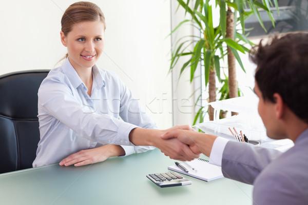 小さな コンサルタント 握手 クライアント ビジネス コンピュータ ストックフォト © wavebreak_media