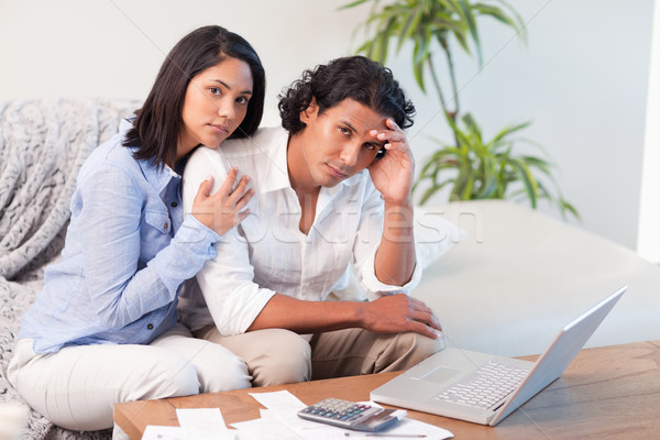 Frustrated young couple underestimated their spending Stock photo © wavebreak_media