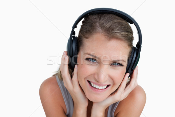 Glücklich Frau Musik hören weiß Lächeln Stock foto © wavebreak_media
