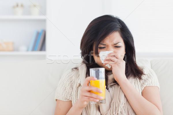 Сток-фото: женщину · апельсиновый · сок · гостиной · кофе · окна