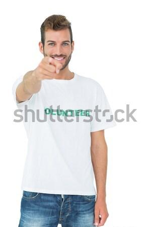 серьезный брюнетка спортивная одежда белый спорт синий Сток-фото © wavebreak_media