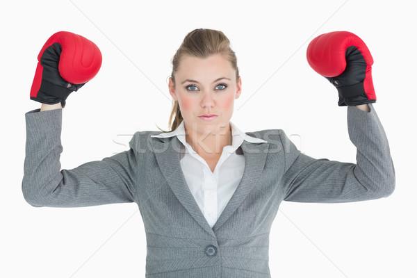 Photo stock: Femme · d'affaires · mains · gants · de · boxe · costume · Homme