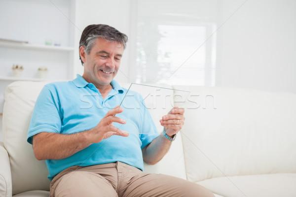笑みを浮かべて 男 リラックス ソファ ストックフォト © wavebreak_media