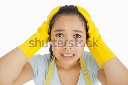 Close-up of smiling young maid with yellow gloves Stock photo © wavebreak_media